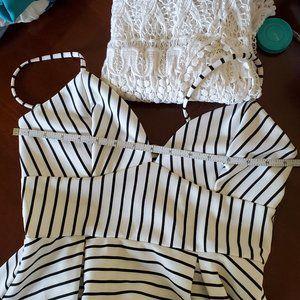 Monteau black & white striped dress